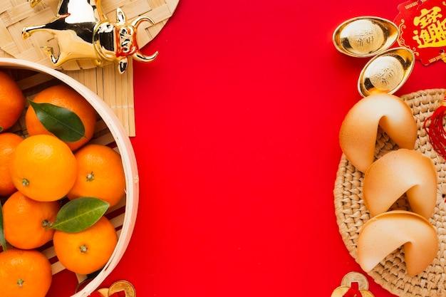 新年の中国の2021年プレートと食べ物 無料写真