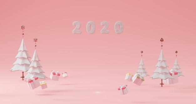新年のコンセプト。クリスマスツリーとギフトボックスに囲まれたピンクの背景に浮かぶ年を変更するための2020年の数。 Premium写真