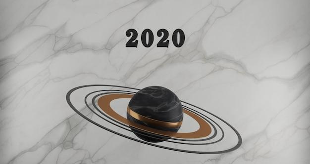 新年のコンセプト。白い大理石の背景に黒い大理石の惑星に浮かぶ年を変更するための2020番号の黒。 Premium写真