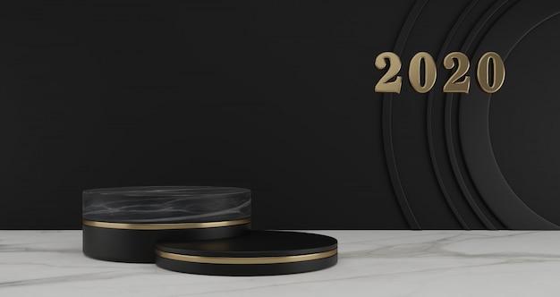 新年のコンセプト。年と黒の背景に黒の台座を変更するための2020年番号の金。 Premium写真