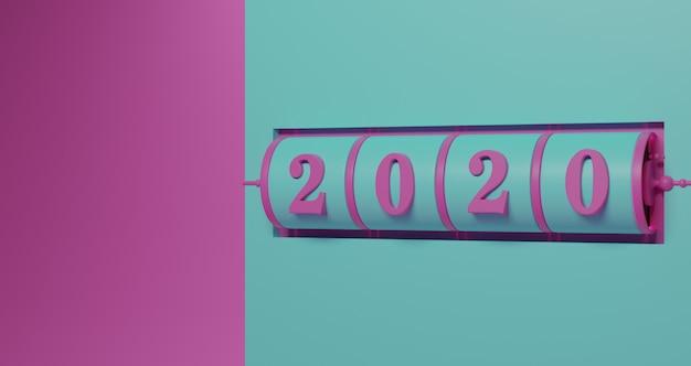 新年のコンセプト。ターコイズグリーンの背景で年を変更するための2020番号のピンクスロット背景。 Premium写真