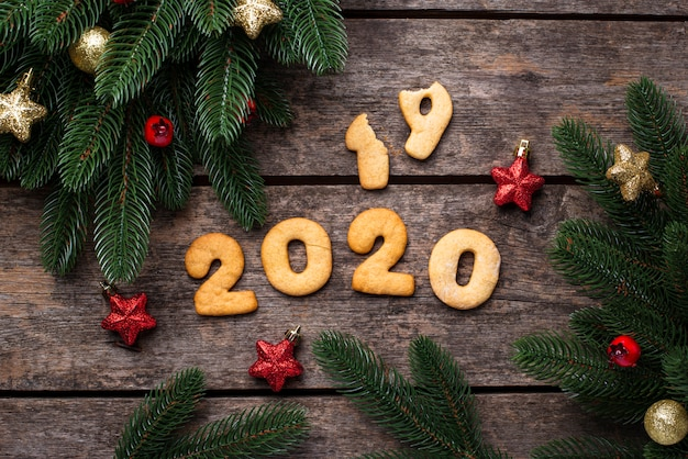 New year cookies in shape 2020 Premium Photo