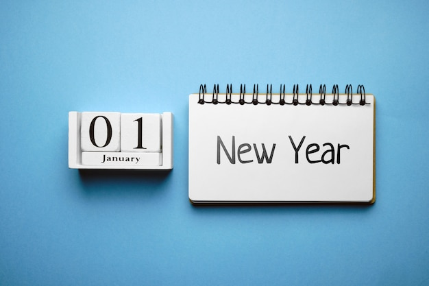 New year day of winter month calendar january. Premium Photo