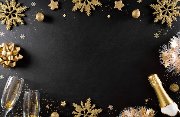 New year holidays background concept made from champagne, glasses, stars, snow flake Premium Photo