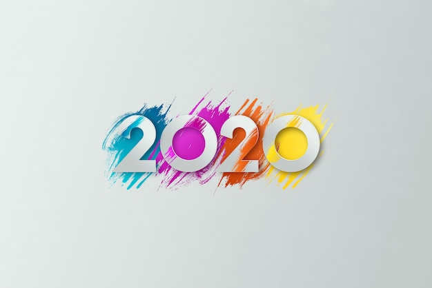 New year inscription 2020 on a light background. Premium Photo