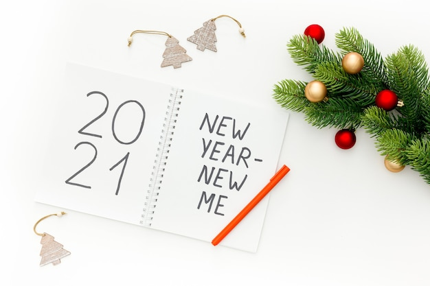 New year new me inspiration concept with christmas decorations Premium Photo