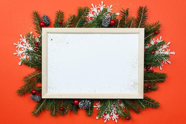 Новогодняя или рождественская рамка с пространством для текста Premium Фотографии