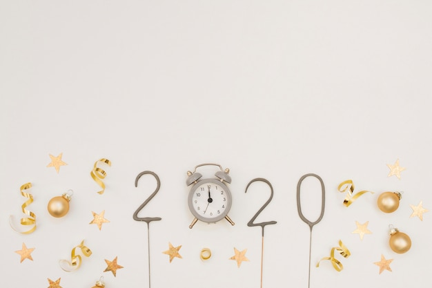 New year party decoration with clock and copy space Free Photo