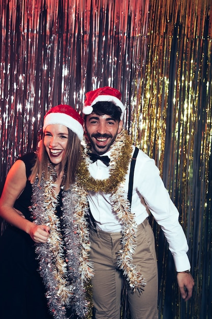New year party with party couple Free Photo