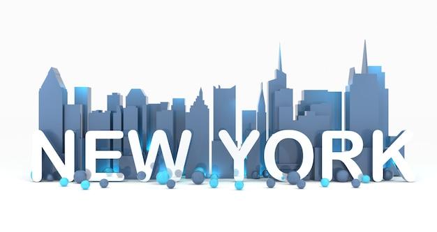 Нью-йорк городской пейзаж фон 3d рендеринг Premium Фотографии