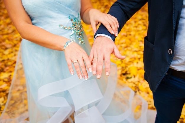 Newly wed couple's hands with wedding rings Premium Photo