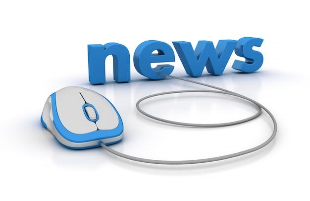 Новости 3d word с компьютерной мышью Premium Фотографии