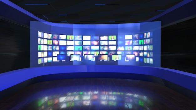 뉴스 방송-뉴스 룸 배경 플레이트 프리미엄 사진