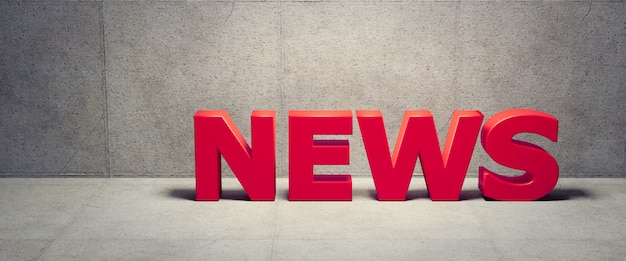 News concept with wall background, 3d render Premium Photo