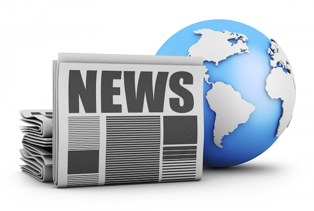 Newspaper and globe Premium Photo