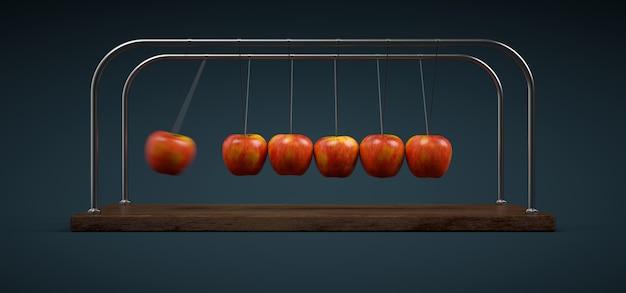 Newton's cradle of apples Premium Photo