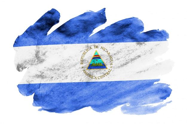 ニカラグアの国旗は、白で隔離される液体水彩風で描かれています Premium写真