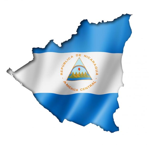 ニカラグアの旗の地図 Premium写真