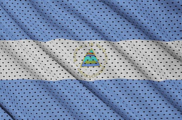ポリエステルナイロンスポーツウェアメッシュ生地にニカラグア旗を印刷 Premium写真