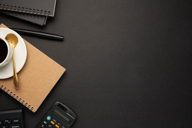 Nice business desk on black background Free Photo