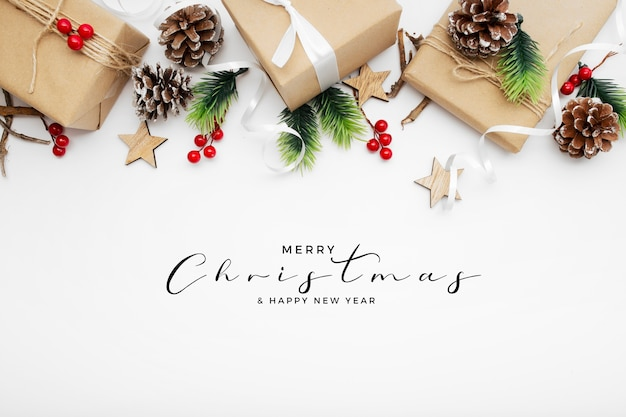 Nice christmas packages on white table Free Photo
