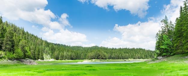 青い湖と山々の素晴らしい景色 Premium写真