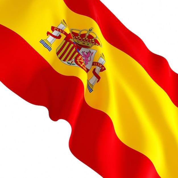 Красивый развевающийся флаг испании, изолированные на белом фоне Premium Фотографии
