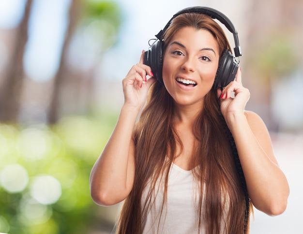 Nice woman listening to music Free Photo