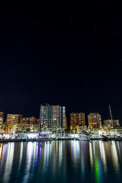 Night coastal city Free Photo