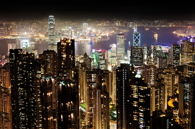 Night hong kong Premium Photo