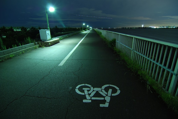 Ночное изображение велосипедной дороги, уходящей далеко на набережной токийского залива Premium Фотографии