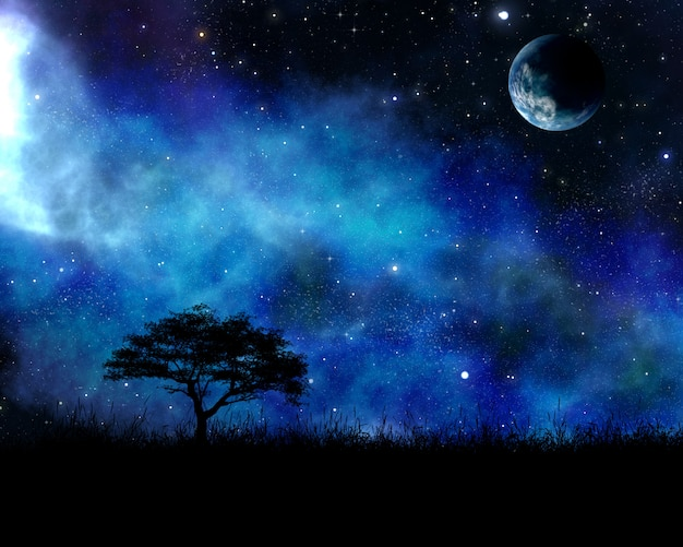 Night landscape with tree against space sky Free Photo