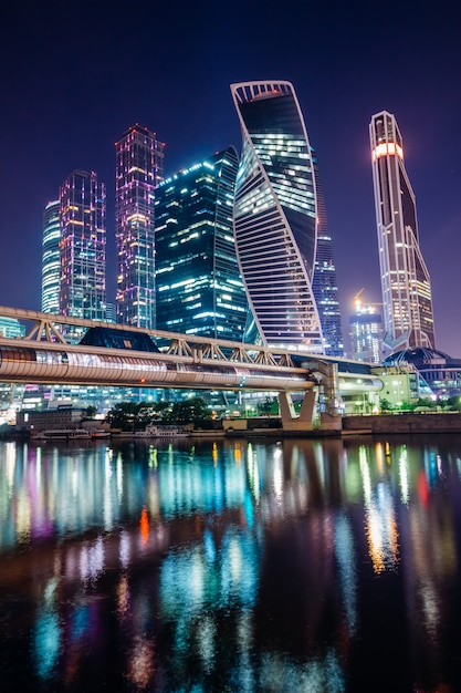 Night moscow business center with lights Premium Photo