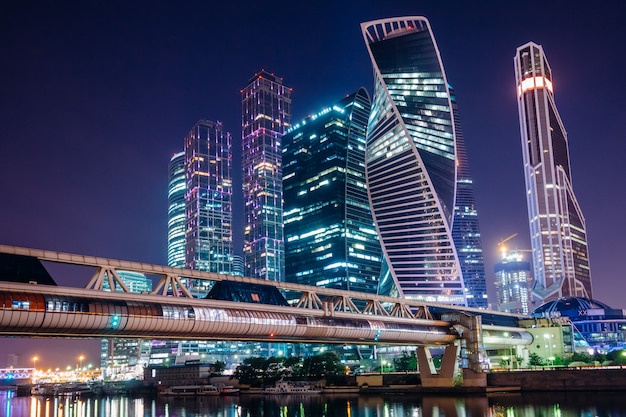 Night moscow city business center Premium Photo