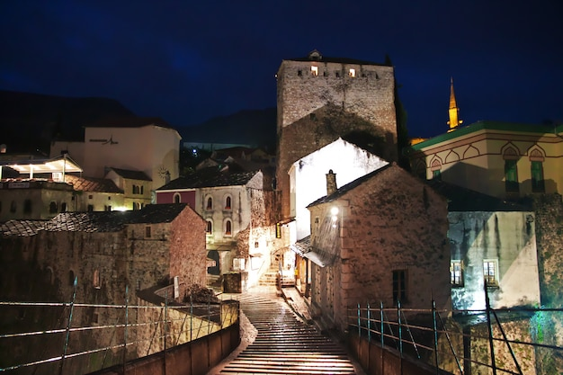 Night in old city mostar, bosnia and herzegovina Premium Photo