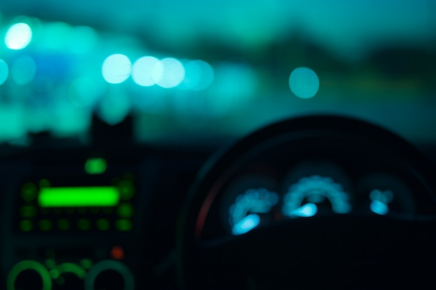 Night Road View From Inside Car Natural Light Blue Color Blurred