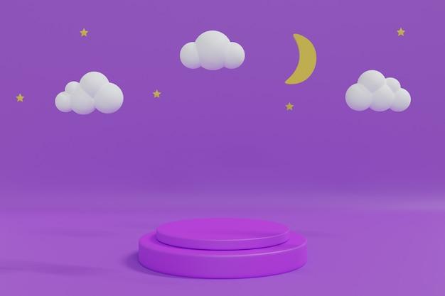 夜空。真夜中の月、星、雲、製品配置用の紫色の表彰台。 3 dレンダリングのイラスト。 Premium写真
