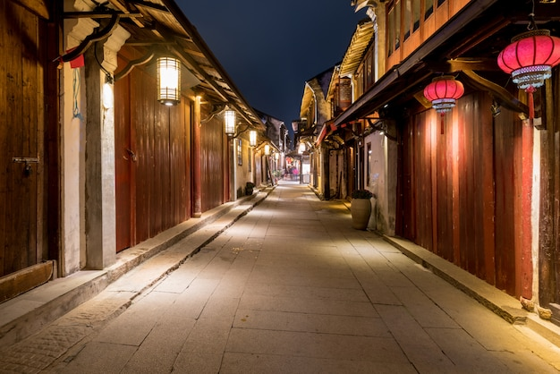 At night, the streets of zhouzhuang ancient town, suzhou, china Premium Photo