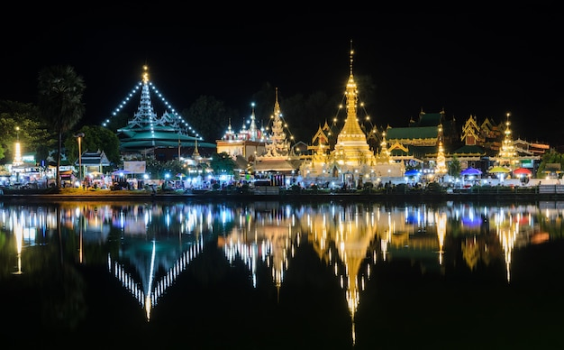 Night view of burmese style temples in mae hong son, thailand Premium Photo