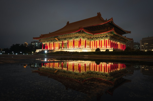 Night view at the national concert hall tapiei, taiwan. Premium Photo