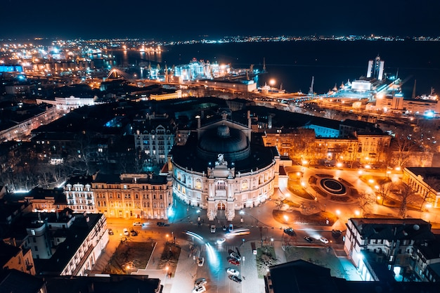 Night view of the opera house in odessa Free Photo