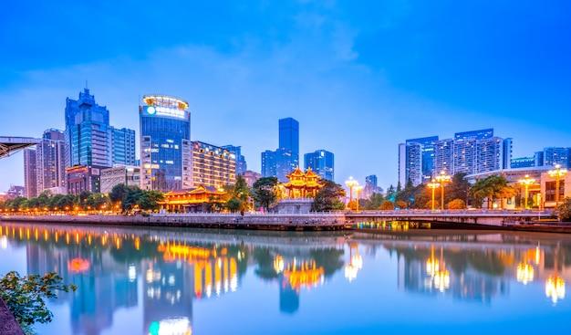 Nightscape architectural landscape of chengdu city, sichuan province Premium Photo