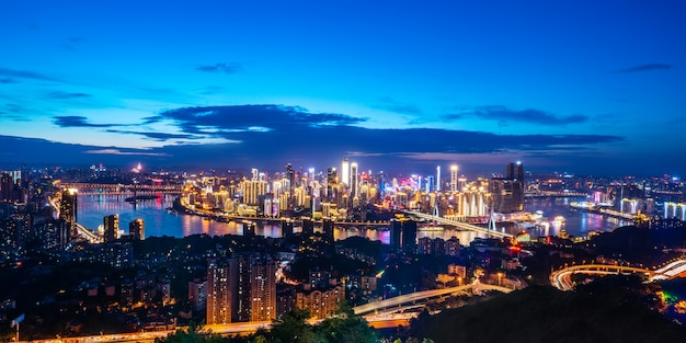 Nightscape skyline of urban architecture in chongqing, china Premium Photo