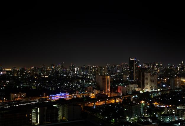 Nigth light landscape of bangkok city. Premium Photo