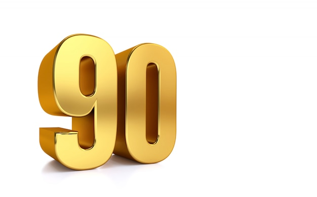Ninety, 3d illustration golden number 90 on white and copy space on right hand side for text Premium Photo