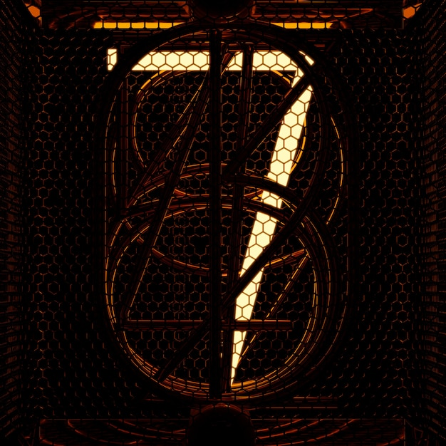 Nixie tube indicator closeup, number 7. retro style. 3d rendering. Premium Photo