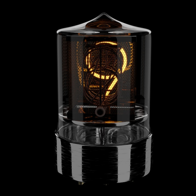 Nixie tube indicator, number 9. retro style. 3d rendered illustration. Premium Photo