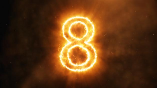 № 8 в огне Premium Фотографии