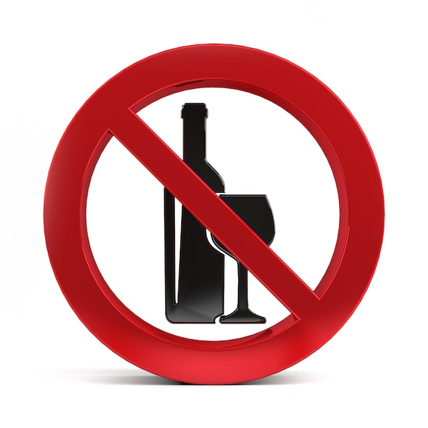 No alcohol drink sign isolated on white background 3d rendering. Premium Photo