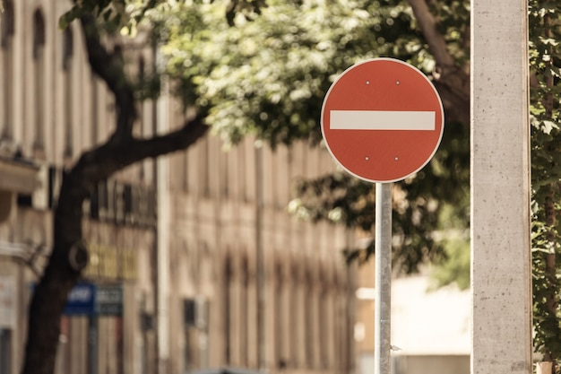 No entry sign road traffic warning on the street Premium Photo